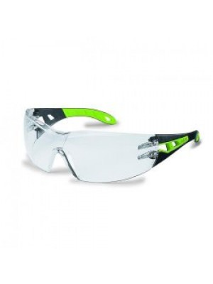 Safety Spectacles pheos 9192 color: black/lime, lens: PC clear, UV 2-1.2 supravision HC-AF, pack of 5